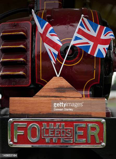 A detail and flags from a Fowler steam engine on display at the Leeds Castle Diamond Jubilee 1950s Weekend to celebrate Queen Elizabeth II's Diamond...