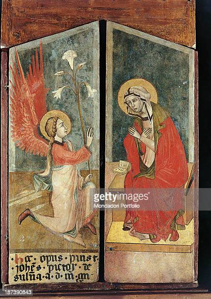 Detail Annunciation Angel Gabriel is announcing the Virgin Mary's pregnancy by giving her a lily a symbol of purity The Virgin has the Holy...