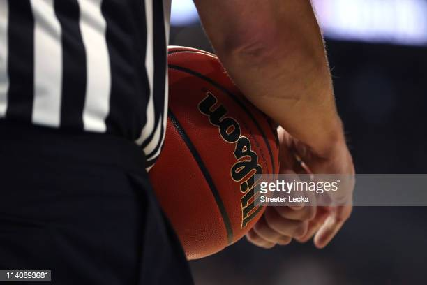 A detail as a referee holds a ball during the 2019 NCAA Final Four semifinal between the Texas Tech Red Raiders and the Michigan State Spartans at US...