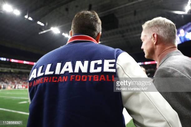 A detail as Alliance of American Football cofounder Charlie Ebersol stands on the field during an Alliance of American Football game between the San...