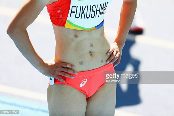 A detail as Chisato Fukushima of Japan reacts after round one of the Women's 200m on Day 10 of the Rio 2016 Olympic Games at the Olympic Stadium on...