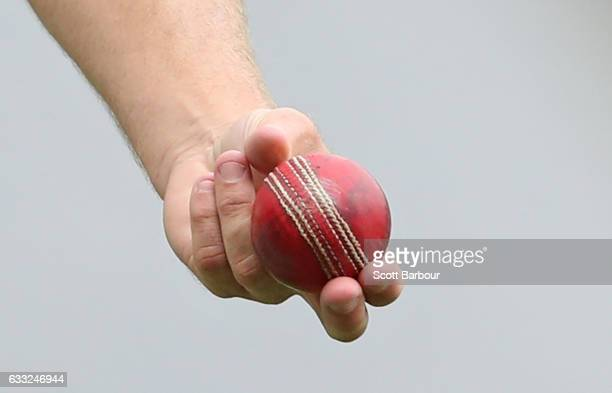 A detail as Doug Bollinger of New South Wales holds the Dukes ball during the Sheffield Shield match between Victoria and New South Wales at the...