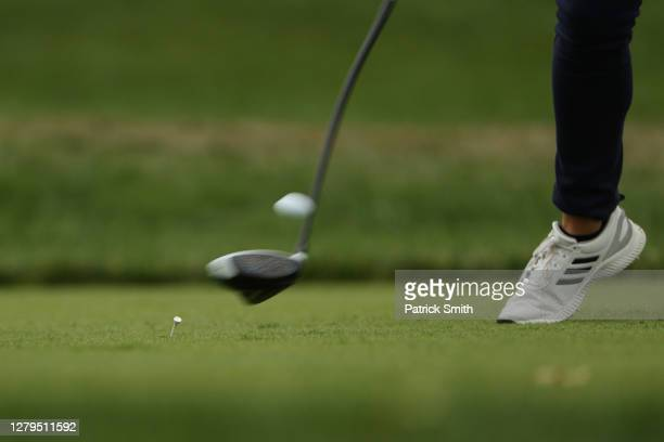 Detail as Gaby Lopez of Mexico plays her shot from the ninth tee during the third round of the 2020 KPMG Women's PGA Championship at Aronimink Golf...