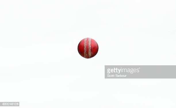 A detail as Harry Conway of New South Wales bowls a delivery with the Dukes ball during the Sheffield Shield match between Victoria and New South...