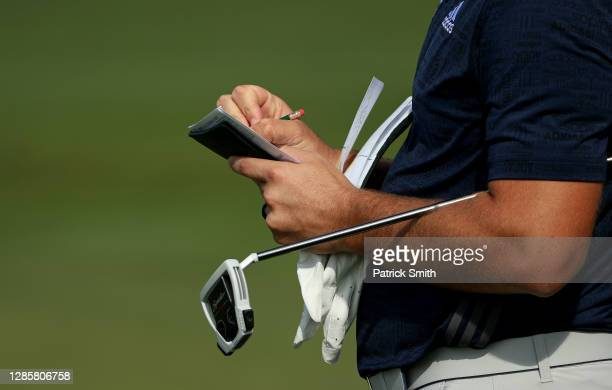 Detail as Jon Rahm of Spain marks his scorecard on the ninth green during the final round of the Masters at Augusta National Golf Club on November...