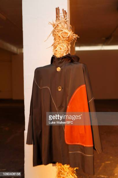Detail at the Omar Afridi presentation at the DiscoveryLAB during London Fashion Week Men's January 2019 at the BFC Designer Showrooms on January 06...