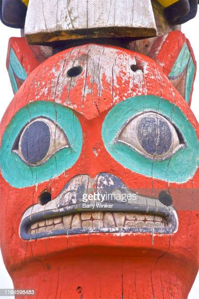 detail, baranov totem pole, sitka - barry wood stock pictures, royalty-free photos & images