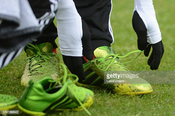 Detail boots of Flamengo´s players during a match between Flamengo and Internacional as part of the Brazilian Serie A championship at Centenario...