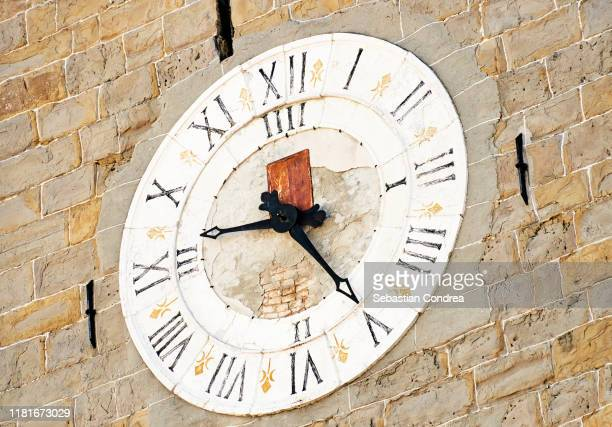 detail clock tower of koper, slovenia. - clock tower stock pictures, royalty-free photos & images