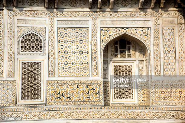 detail decoration of itmad-ud-daulah's tomb, agra, india. - mughal empire stock pictures, royalty-free photos & images