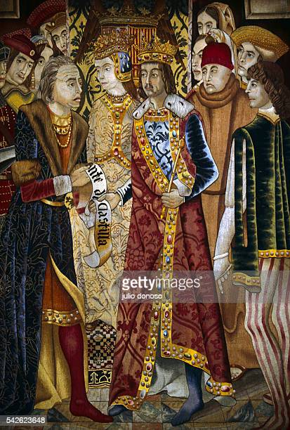 Detail Depicting a Meeting of Colombus King Ferdinand and Queen Isabelle from the Christopher Colombus Tapestry