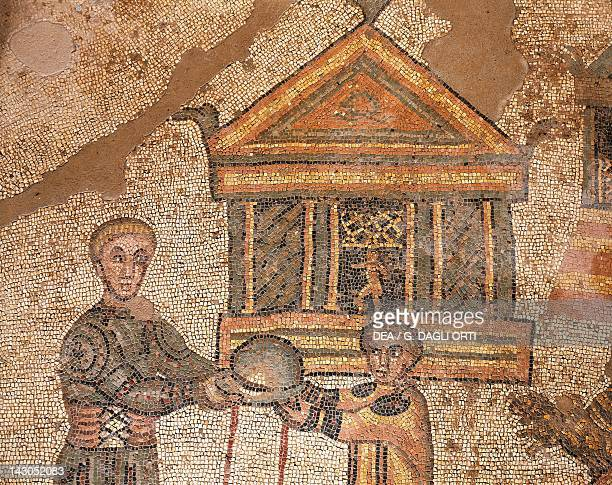 Detail depicting a Temple of Rome from the mosaic in the exercise room from Villa Romana del Casale Piazza Armerina Sicily Roman Civilization 4th...