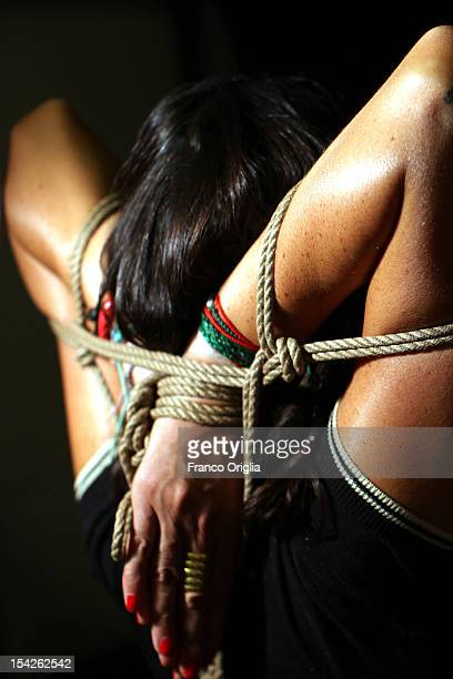 A detail during a bondage class held by Davide La Greca at his studio on September 12 2011 in Rome Italy Maestro of bondage Davide La Greca holds...