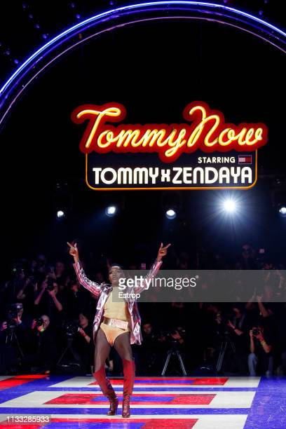 detail during the Tommy Hilfiger TOMMYNOW Spring 2019 TommyXZendaya Premieres at Theatre des ChampsElysees on March 2 2019 in Paris France