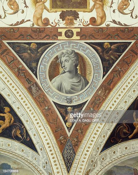 Detail from 16th century decorative frescoes, Isabella d'Este's Apartments, Ducal Palace, Mantua . Italy, 16th century.