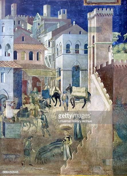 Detail from a Ambrogio Lorenzetti's allegorical Fresco that decorates the Palazzo Pubblico at Siena This particular fresco depicts a street scene in...