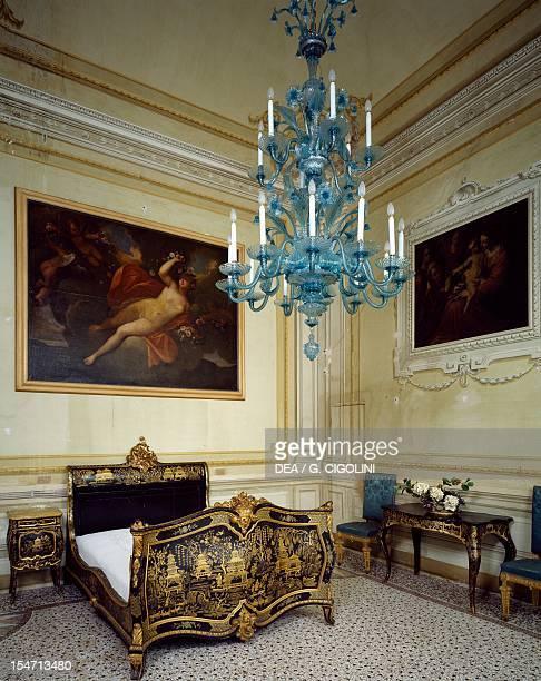 Detail from a bedroom with rococo furniture Villa Durazzo Santa Margherita Ligure Italy 17th19th century