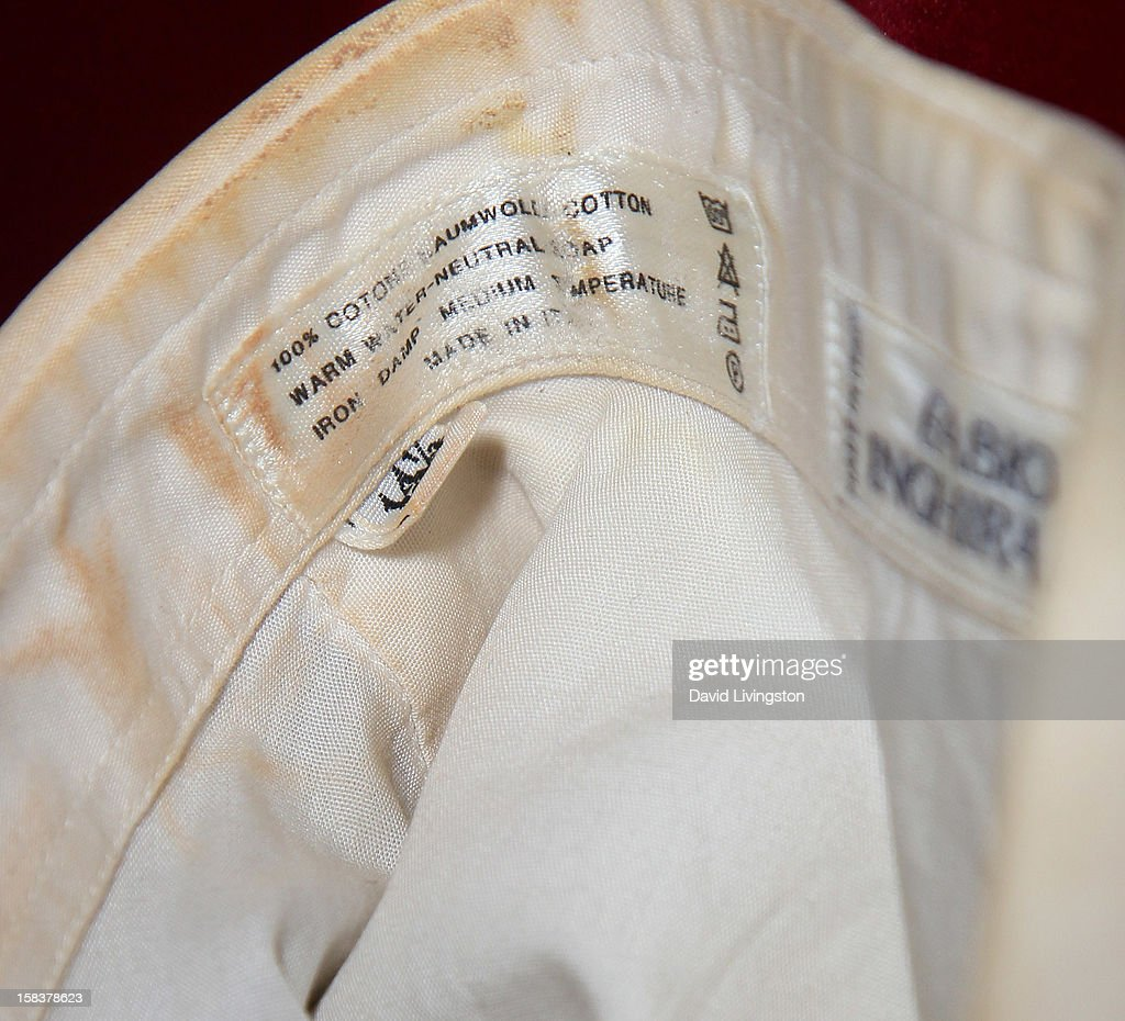 Detail from a costume worn by recording artist Michael Jackson during the 1986 American Music Awards is displayed at Nate D. Sanders media preview for Michael Jackson's 1980's iconic stage-worn items on December 14, 2012 in Los Angeles, California.