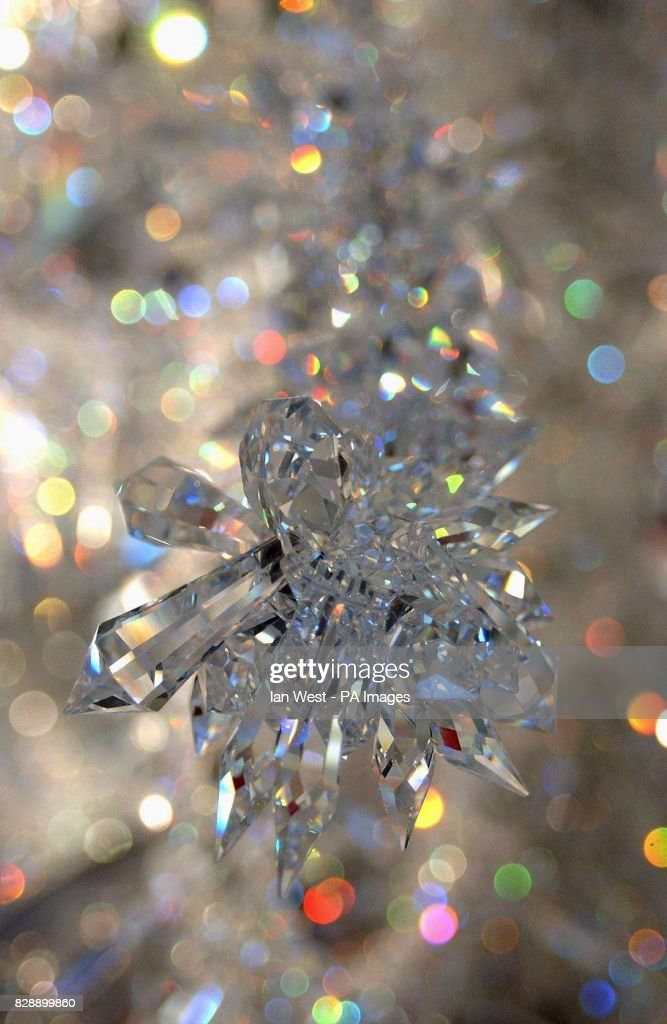 a detail from a crystal christmas tree which was unveiled at the va museum in west