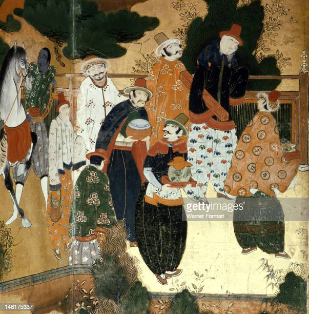 Detail from a folding screen depicting Portuguese merchants in Japan Japan Japanese Early 17th circa
