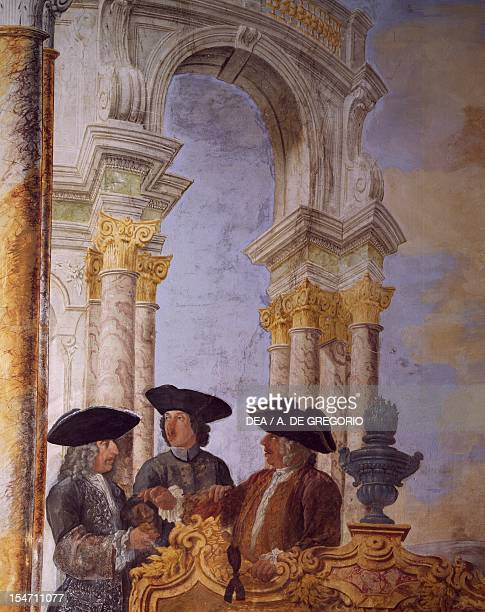 Detail from a fresco by Leone Ghezzi in the Winter Hall at Villa Falconieri La Rufina, Frascati. Italy, 17th century.