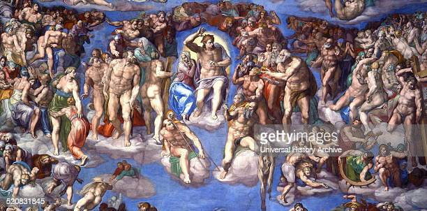 Detail from a large fresco titled 'The Last Judgement' painted by Michelangelo Italian sculptor painter architect poet and engineer of the High...