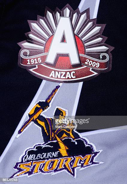 Detail from a Melbourne Storm NRL commemorative jersey featuring the ANZAC emblem is seen on April 23 2009 in Melbourne Australia The Melbourne Storm...
