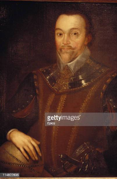 A detail from a painting by Gheeraerts of sea captain navigator and explorer Sir Francis Drake who was the first Englishman to circumnavigate the...
