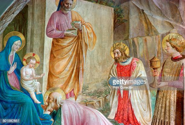Detail from a painting of the adoration of the Magi at the church of Santa Croce in Florence