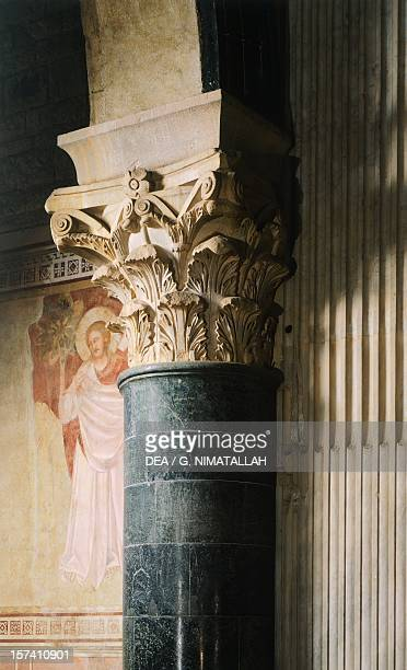 Detail from a Romanesque capital, San Miniato al Monte , Florence. Italy, 10th-15th century.