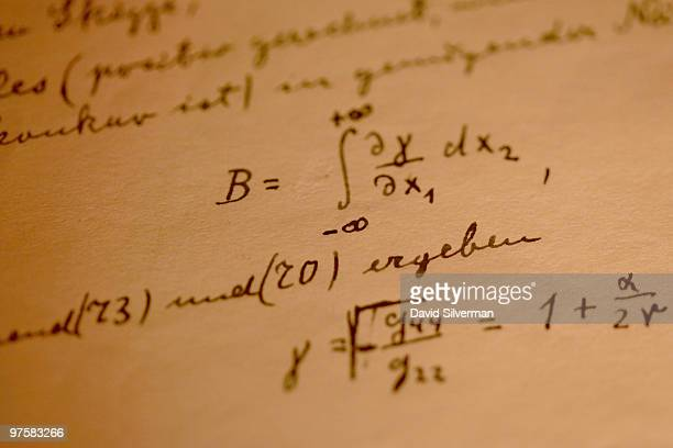 A detail from Albert Einstein's General Theory of Relativity which is on display in its entirety for the first time at the Israeli Academy of...
