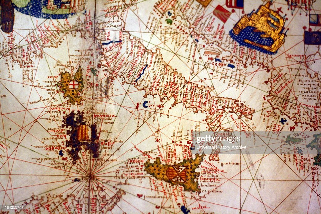 Detail from illustrated navigational map of Europe Pictures