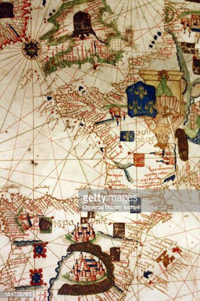 Detail from an illustrated navigational map of Europe from 1528 Made by Jacopo Russo In Messina Sicily