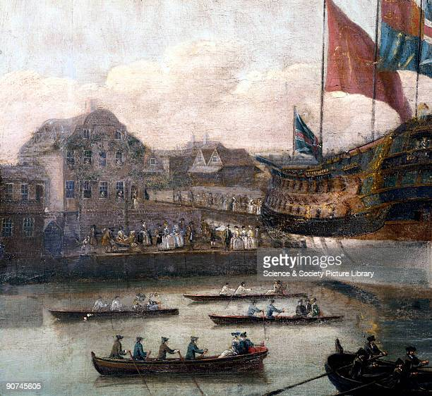 Detail from an oil painting by John Cleveley the Elder showing a warship being launched in front of the Master Shipwright's house The Royal Naval...