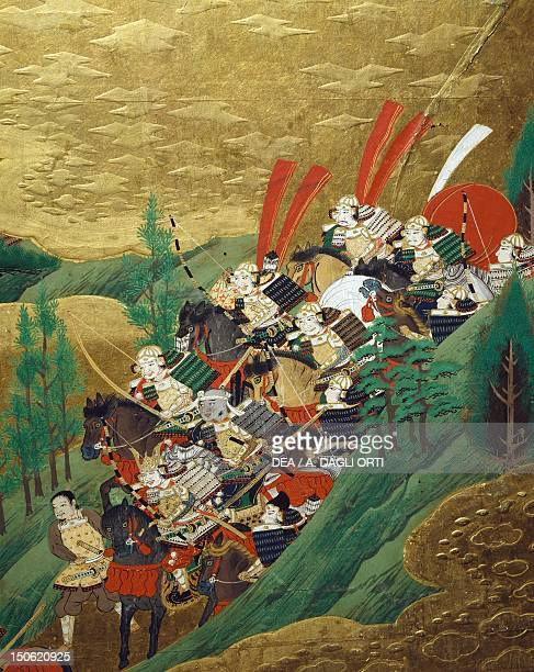 Detail from byobu scenes from the 12th century Gempei war Japan Tosa School Edo Period early 17th century