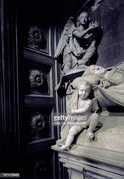Detail from Cardinal Jacopo of Portugal's tomb, by Antonio Rossellino . Chapel of the Cardinal of Portugal, San Miniato al Monte , Florence. Italy,...