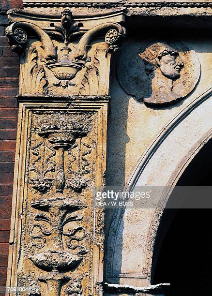 Detail from exterior decoration of Bagatti Valsecchi Museum Milan Lombardy Italy