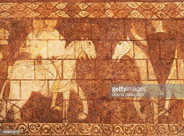 Detail from frescoes depicting the hiStory of the Knights Templar 13th century left wall north side of the Chapel of the Templars Cressac sur...