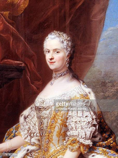 Detail from painting of Marie Leszczinska Queen of France By CharlesAndré van Loo 1747 Oil on canvas On display at the palace of Versailles