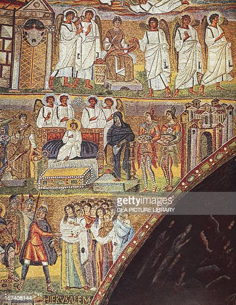 Detail from Scenes from Christ's first coming and Jesus' Infancy mosaic of the triumphal arch of the basilica of Santa Maria Maggiore Rome Italy 5th...