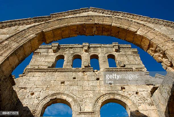A detail from the arch of the Church Of Saint Simeon Stylites which is around 30 kilometers northwest of Aleppo Syria and was one of the oldest...