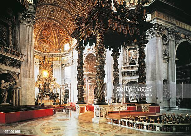 Detail from the central nave with the St Peter's Canopy St Peter's Basilica Rome Vatican City 16th17th century