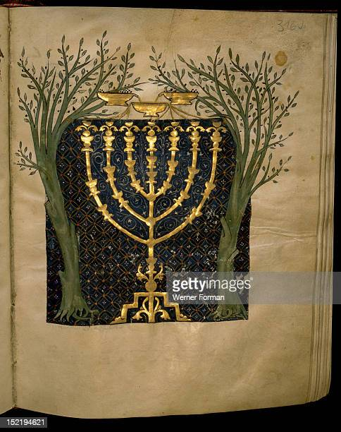 Detail from the Cervera Bible MS Hebr 72 Representation of the Prophet Zachariahs vision of a menorah between two olive trees Scribe Samuel ben...