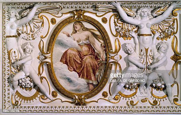 Detail from the decorations of the ceiling in the Hall of Conversation of Villa Lante Bagnaia by architect Jacopo Barozzi da Vignola known as Il...