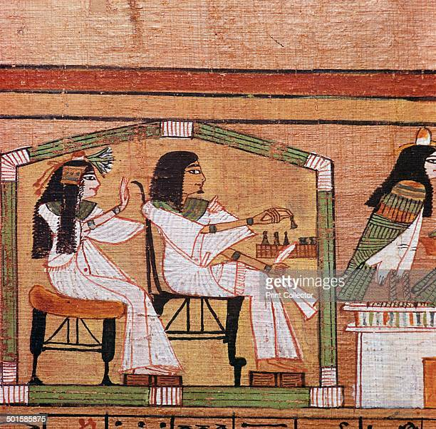 Detail from the Egyptian papyrus of Ani showing a game of draughts between Ani and his wife