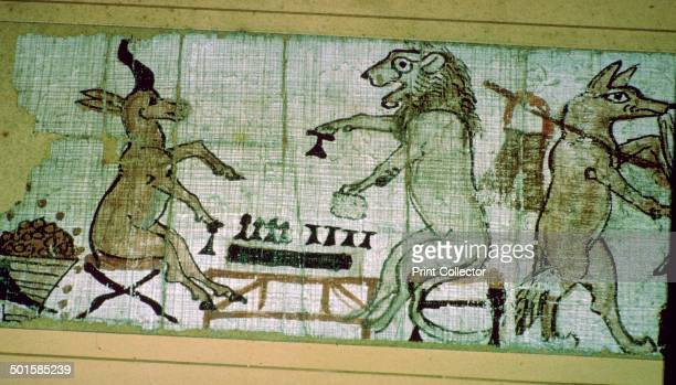 Detail from the Egyptian 'satirical papyrus' of a lion and a unicorn playing Senet a board game similar to draughts