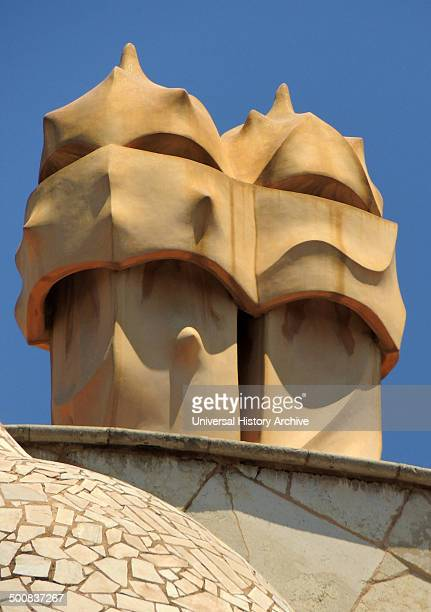 detail from the facade of Casa Milà known as La Pedrera is a building designed by the Catalan architect Antoni Gaudi and built during the years...