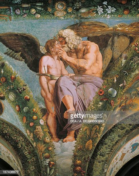 Detail from the fresco cycle Stories of Cupid and Psyche by Raffaello Sanzio and his assistants Loggia of Cupid and Psyche Villa Farnesina Rome Italy...