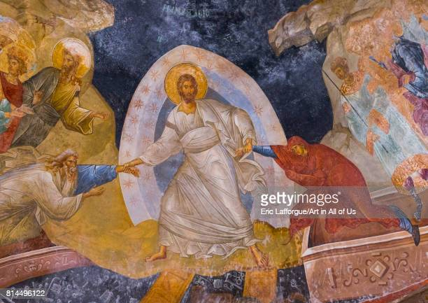 Detail from the fresco of the resurrection from the pareklission in the byzantine church of st Savior in Chora Edirnekap Istanbul Turkey on April 27...