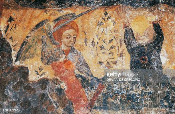 Detail from the frescoes inside Cattolica di Stilo 9th10th century Byzantine Church Stilo Calabria Italy